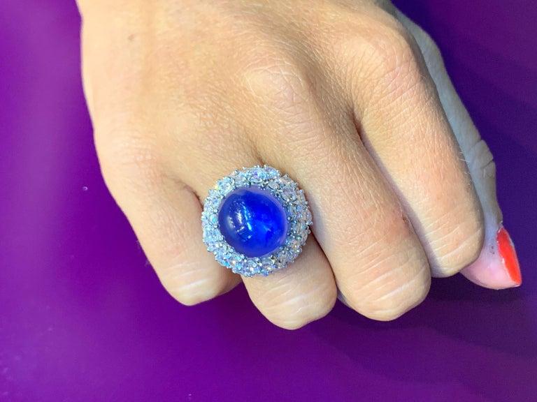 Oscar Heyman Cabochon Sapphire and Diamond Cocktail Ring 2