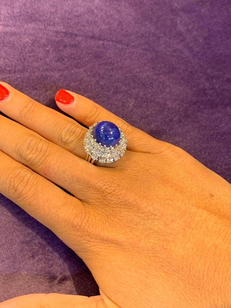 Oscar Heyman Cabochon Sapphire and Diamond Cocktail Ring 3