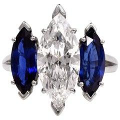 Oscar Heyman Centre 4,19 Karat E-VS2 Marquise Diamanten Platin Drei-Steiniger Ring