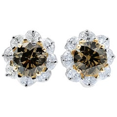 Oscar Heyman Cognac Diamond Clip Earrings