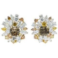 Oscar Heyman Cognac Diamond Cluster Clip Earrings