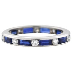 Oscar Heyman Contemporary Sapphire Baguette and Diamond Eternity Band