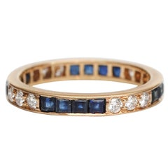 Oscar Heyman Diamond and Blue Sapphire 18 Karat Gold Eternity Band, circa 1950