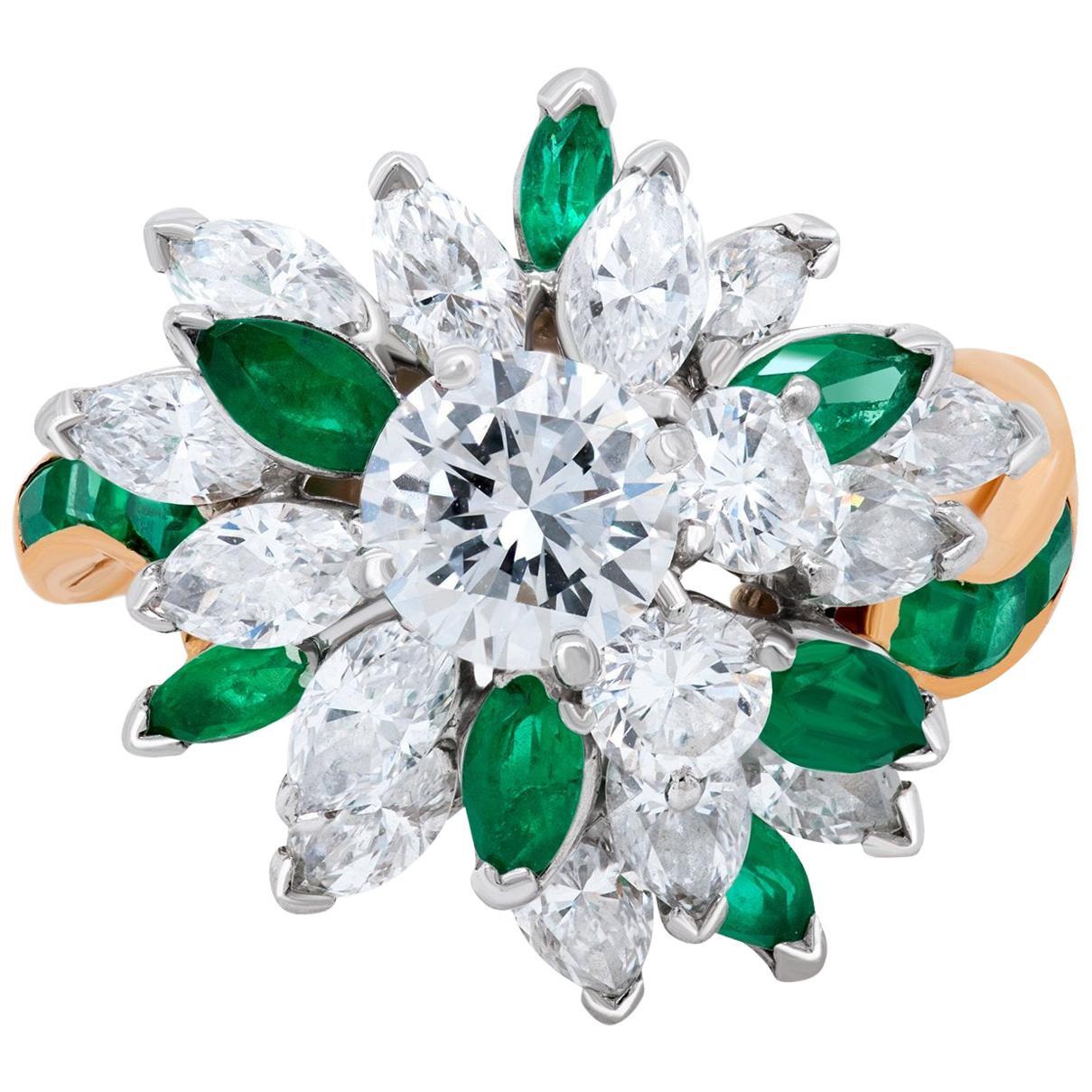 Oscar Heyman Diamond and Emerald 18 Karat Yellow Gold Cocktail or Cluster Ring
