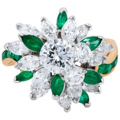 Oscar Heyman Diamond and Emerald 18 Karat Yellow Gold Cocktail or Cluster Ring