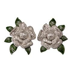 Oscar Heyman Diamond and Enamel Gardenia Earrings