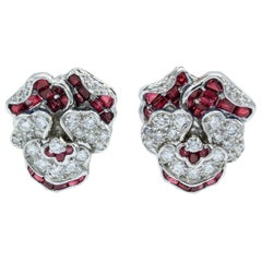 Oscar Heyman Diamond and Ruby Pansy Clip Earrings