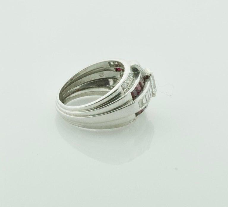 Emerald Cut Oscar Heyman Diamond and Ruby Ring in Platinum For Sale