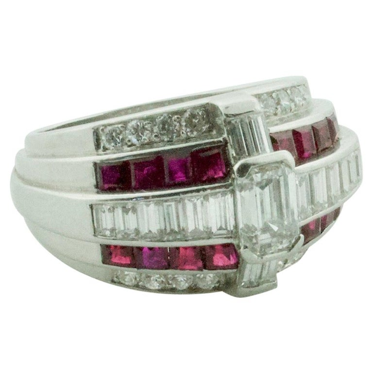 Oscar Heyman Diamond and Ruby Ring in Platinum For Sale