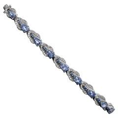Oscar Heyman Diamond and Sapphire Retro Link Bracelet