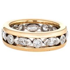 Oscar Heyman Diamond Eternity Ring Vintage 18 Karat Yellow Gold Platinum Band