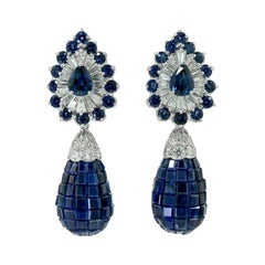 Oscar Heyman Diamond, Mystery-Set Sapphire Earrings