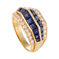 Oscar Heyman Diamond Pave and Invisible Set Sapphire 18 Karat Yellow Gold Ring