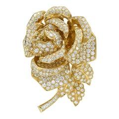 Oscar Heyman Diamond Rose Brooch