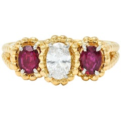 Oscar Heyman Diamond Ruby 18 Karat Gold Platinum Three-Stone Ring