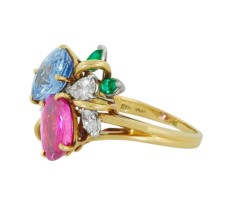 18K Yellow Gold Diamond, Pink Sapphire, Blue Sapphire and Emerald Ring. Signed by Oscar Heyman. ring size 6