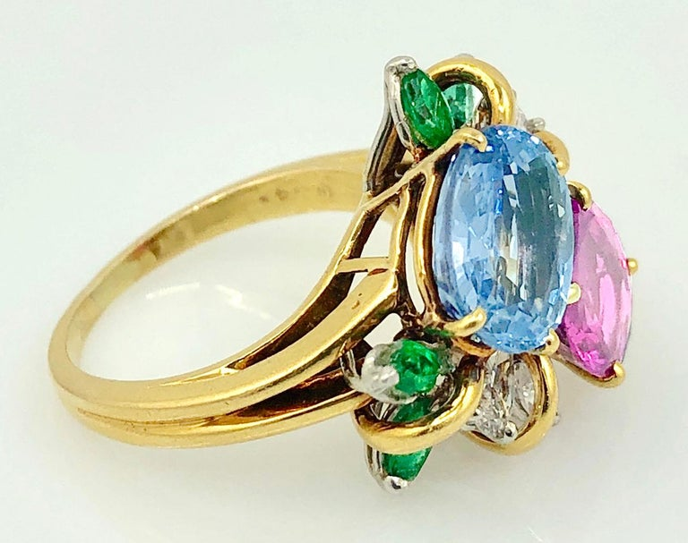 Oscar Heyman  Diamond Sapphire Emerald Cocktail Ring In Good Condition For Sale In New York, NY