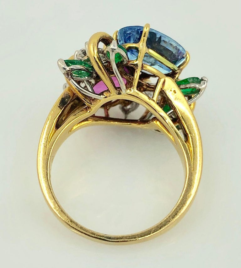 Women's Oscar Heyman  Diamond Sapphire Emerald Cocktail Ring For Sale