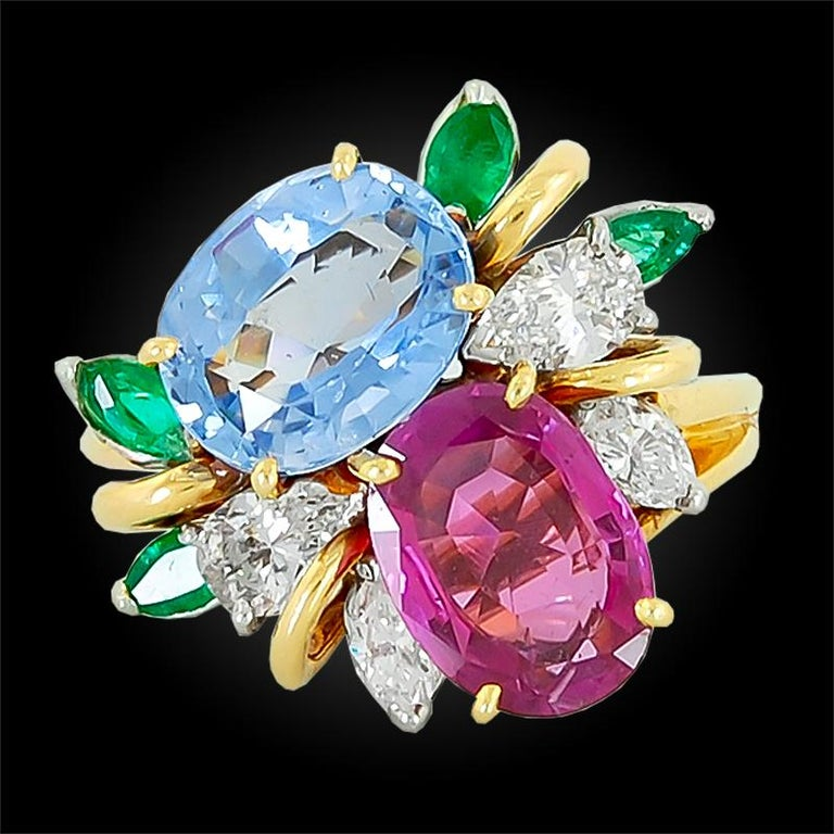 Oscar Heyman  Diamond Sapphire Emerald Cocktail Ring For Sale 1