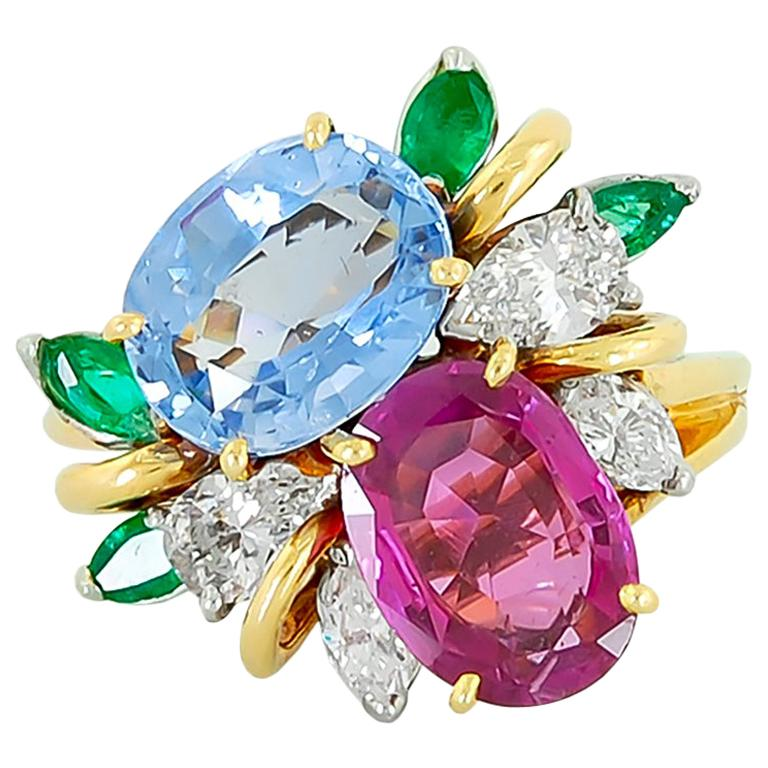 Oscar Heyman  Diamond Sapphire Emerald Cocktail Ring For Sale