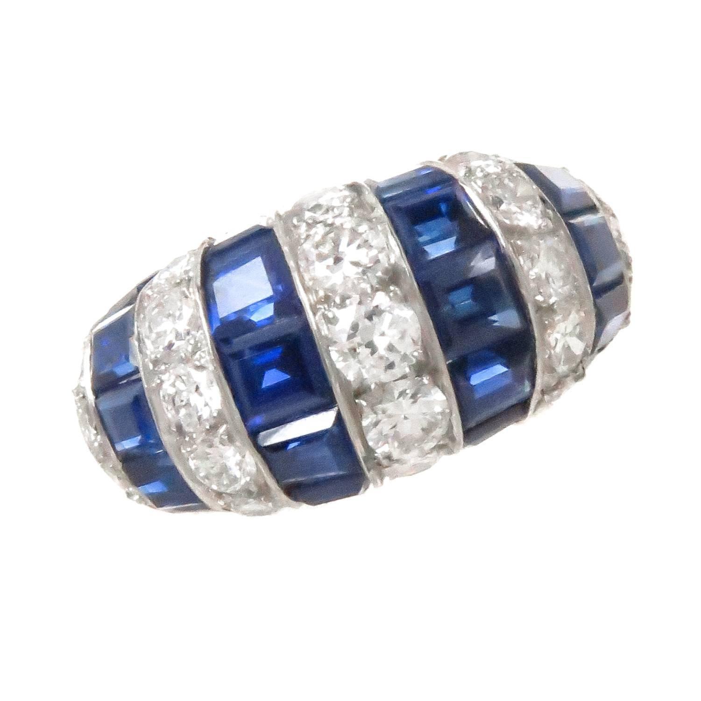Oscar Heyman Diamond Sapphire Platinum Ring