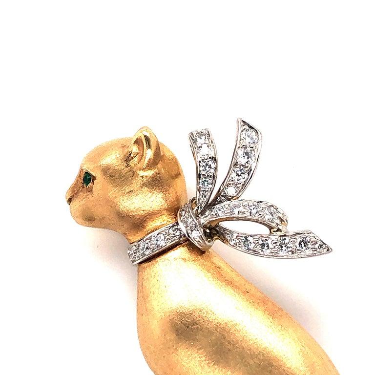 Contemporary Oscar Heyman Diamond Sitting Kitty Brooch