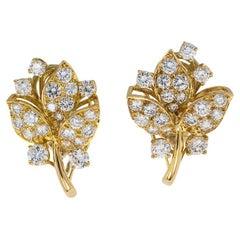 Oscar Heyman Diamond Yellow Gold Clip-on Earrings