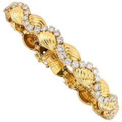 Oscar Heyman Diamond Yellow Gold Link Bracelet