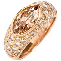 Oscar Heyman Fancy Golden Brown Diamond 18 Karat Gold Ring