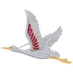 Oscar Heyman Flying Egret Ruby and Diamond Bird Brooch