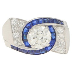 Oscar Heyman Art Deco Diamond and Sapphire Engagement Ring Set in Platinum