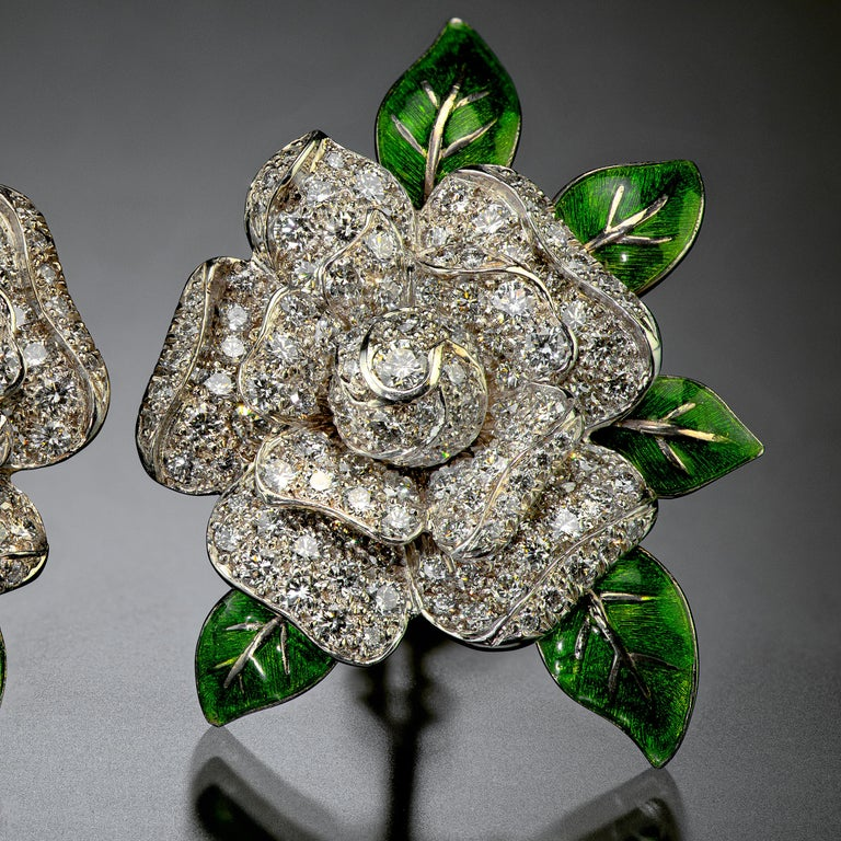 Round Cut Oscar Heyman Gardenia Enamel and Diamond Ear Clips For Sale