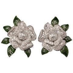 Oscar Heyman Gardenia Enamel and Diamond Ear Clips