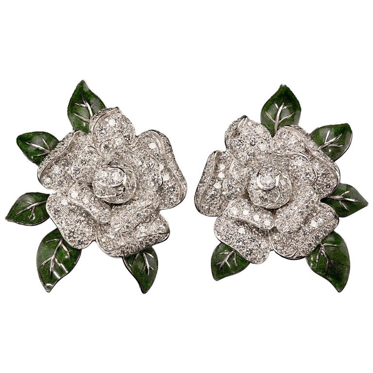 Oscar Heyman Gardenia Enamel and Diamond Ear Clips For Sale