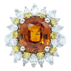 Oscar Heyman GIA Certified 6.04ct Orange Sapphire, Diamond & Yellow Diamond Ring