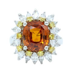 Oscar Heyman GIA Certified 6.04ct Orange Sapphire, Diamond & Yellow Diamond Ring