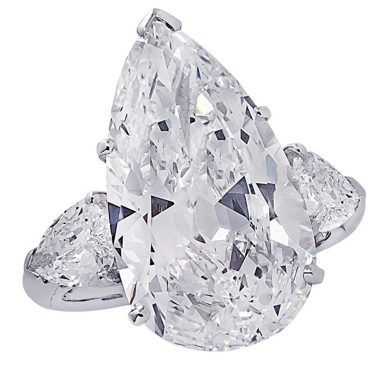Oscar Heyman GIA Certified 8.04 Carat Pear Shape Diamond Wedding Set For Sale 1