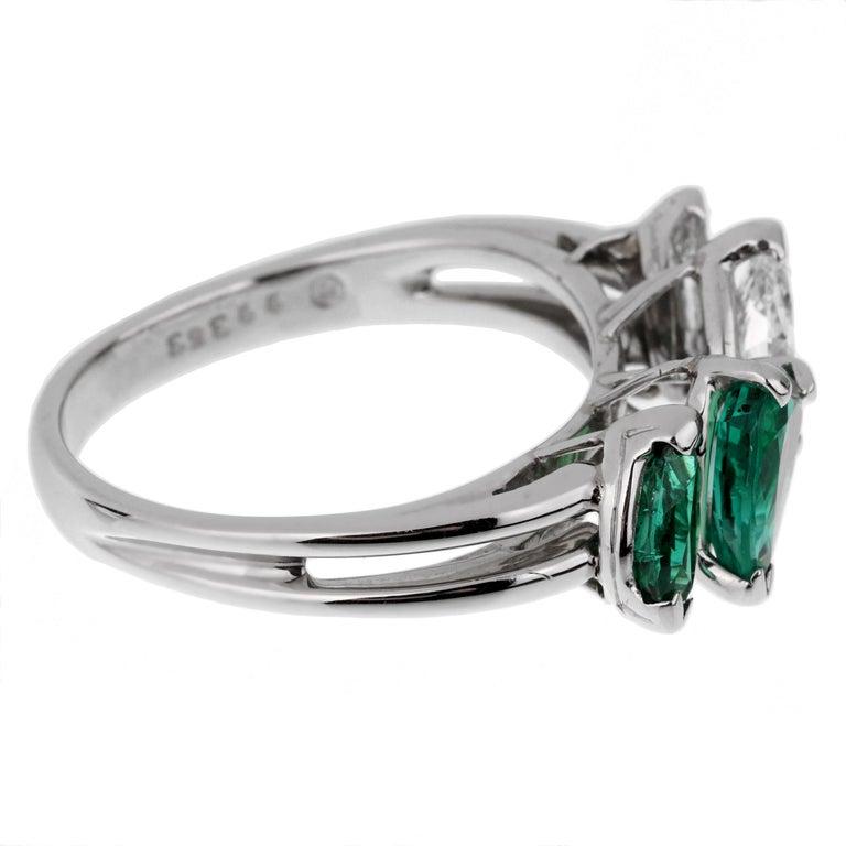 Pear Cut Oscar Heyman GIA Certified Vintage Emerald Diamond Cocktail Ring For Sale