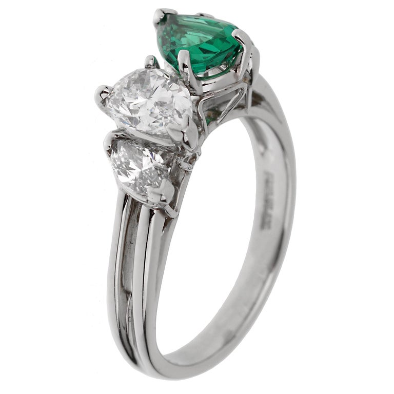 Oscar Heyman GIA Certified Vintage Emerald Diamond Cocktail Ring In Excellent Condition For Sale In Feasterville, PA