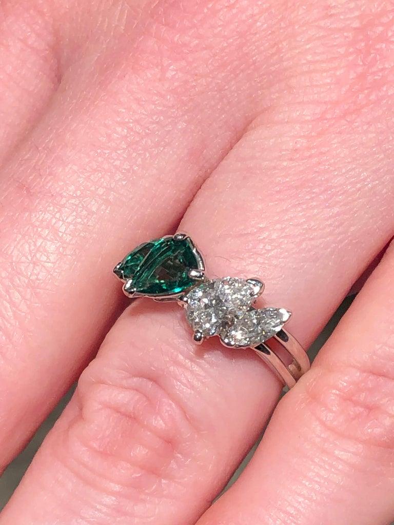 Oscar Heyman GIA Certified Vintage Emerald Diamond Cocktail Ring For Sale 1