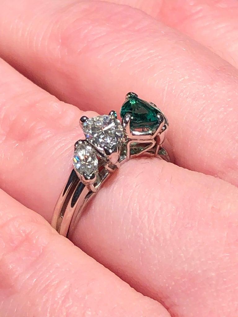 Oscar Heyman GIA Certified Vintage Emerald Diamond Cocktail Ring For Sale 2
