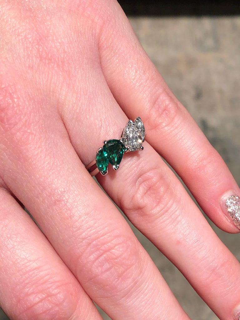 Oscar Heyman GIA Certified Vintage Emerald Diamond Cocktail Ring For Sale 3