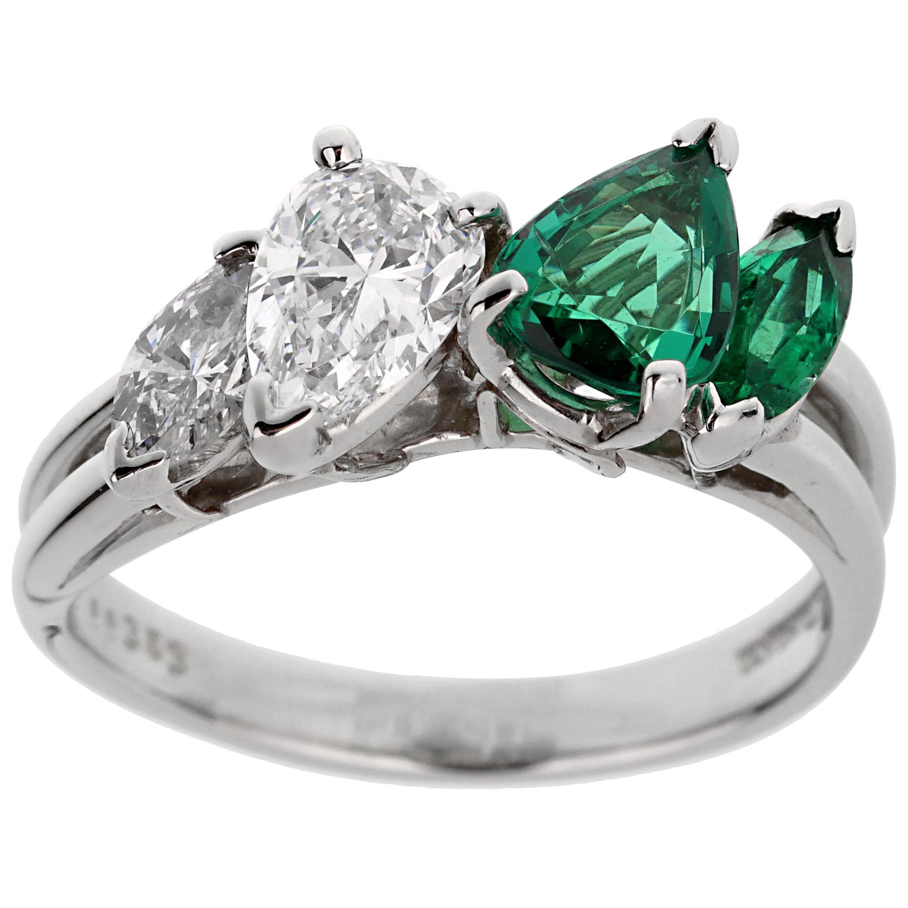Oscar Heyman GIA Certified Vintage Emerald Diamond Cocktail Ring
