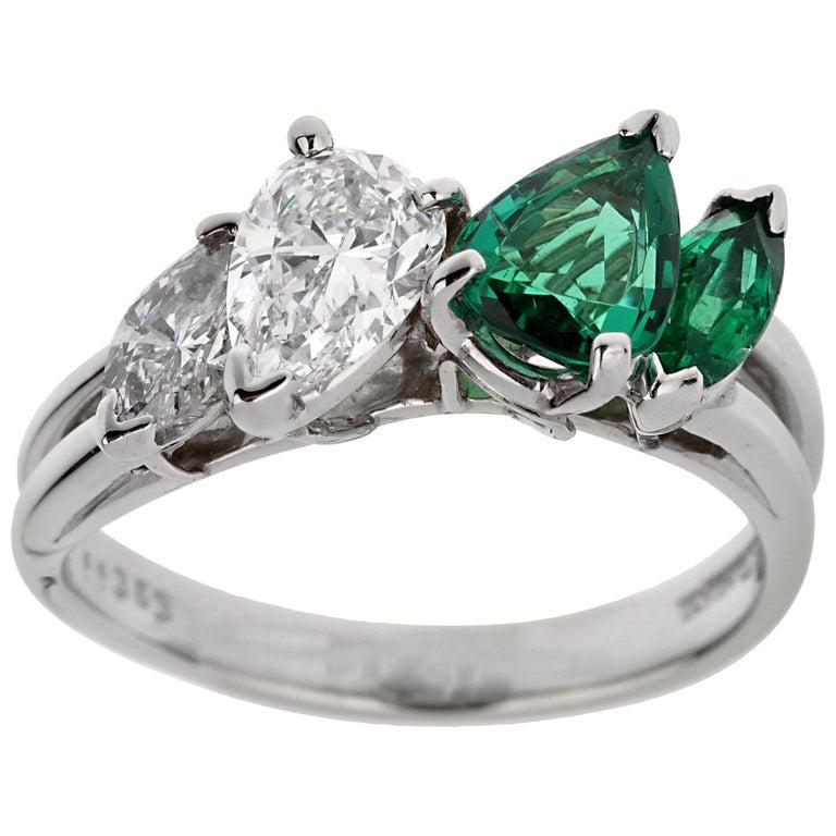 Oscar Heyman GIA Certified Vintage Emerald Diamond Cocktail Ring For Sale