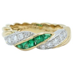 Oscar Heyman Gold and Platinum Emerald and Diamond Twist Band Ring