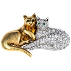 Oscar Heyman Gold and Platinum Pave Double Cat Brooch