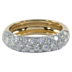 Oscar Heyman Gold and Platinum Round Diamond Wedding Band Ring