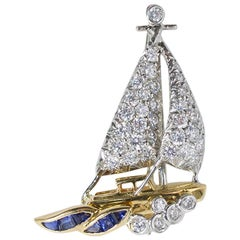 Oscar Heyman Gold and Platinum Sailboat Brooch