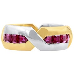 Oscar Heyman Gold and Platinum Square Ruby Band Ring