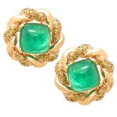 Oscar Heyman Diamond Emerald  Gold Earrings